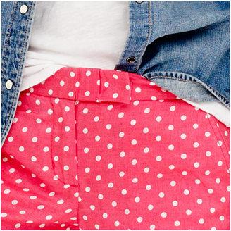 J.Crew Polka-dot linen short