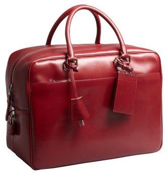 Prada red leather large zip travel bag
