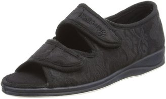 Padders Plus Padders Lydia Wide Fitting EE Womens Memory Foam Slippers - Black - UK3
