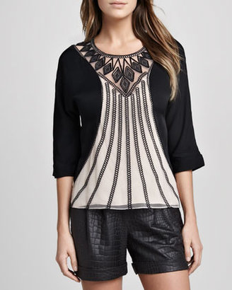 Catherine Malandrino Pointelle Drop-Needle Blouse