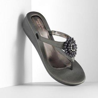 Vera Wang Simply vera beaded cluster wedge flip-flops - women