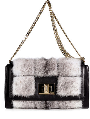 Emilio Pucci Black/White Mink/Crocodile/Leather Shoulder Bag