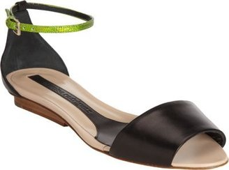 Narciso Rodriguez Wide Band Sandal with Lizardskin Ankle Strap
