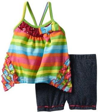 Little Lass Baby-Girls Newborn 2 Piece Short Set with Stripes and Ruffles
