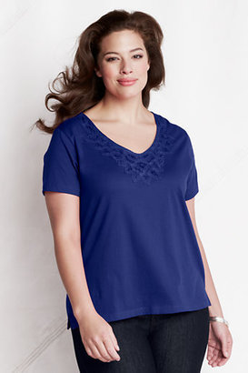 Lands' End Women's Plus Size Short Sleeve Lightweight Jersey Lace V-neck Tee