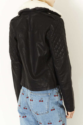 Topshop Quilted Leather Look Biker Jacket