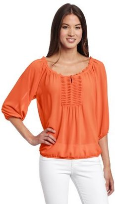 My Michelle Juniors Peasant Top with Ruffle
