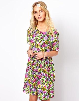 Asos Smock Dress In Bright Floral Print
