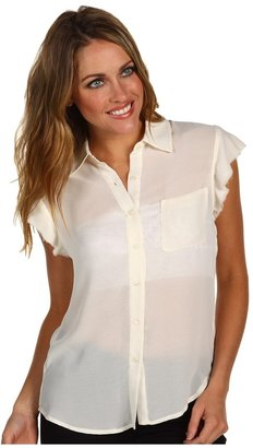 AG Adriano Goldschmied Crepe Chiffon Raw Edge Sleeveless Shirt (Winter White) - Apparel