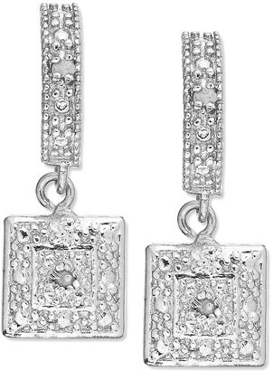 Townsend Victoria Sterling Silver Earrings, Diamond Accent Square Drop Earrings