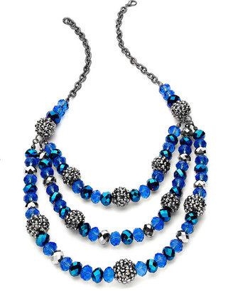 Style&Co. Necklace, Hematite-Tone Three-Row Beaded Frontal Necklace