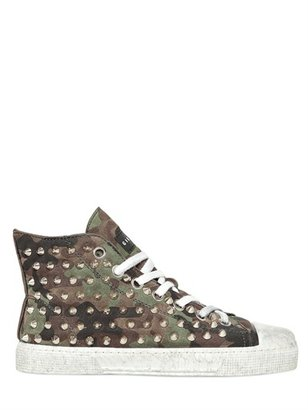 Gienchi Studded Camouflage Print Suede Sneakers