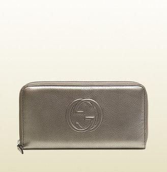 Gucci Metallic Leather Zip-Around Wallet