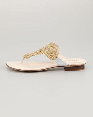 Eric Javits Yanna Braided Flat Thong Sandal, Natural Frost