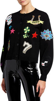Alice + Olivia Zola Embellished Cardigan with Blouson Sleeves