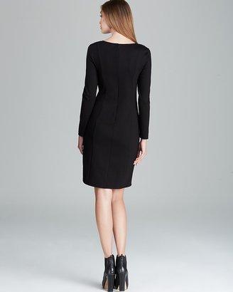 DKNY DKNYC Asymmetric Cutout Dress with Faux Leather Detail