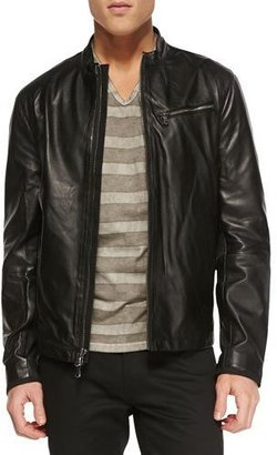 John Varvatos Star USA Tumbled Leather Moto Jacket, Black $598 thestylecure.com