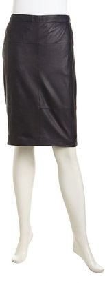 Halston Leather Paneled Contrast Pencil Skirt, Midnight