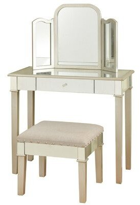 Stylecraft Home Hollywood Glamour Bedroom Vanity with Mirror Home