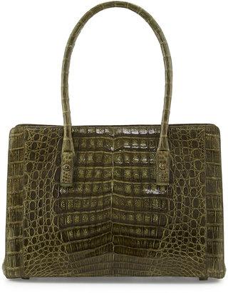 Nancy Gonzalez Crocodile Small Multi-Pocket Satchel Bag, Olive
