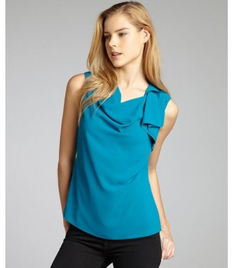 Tahari ocean depths woven 'Ezra' asymmetrical ruffle blouse