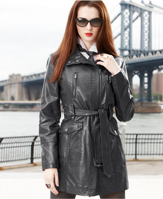Kenneth Cole Reaction Coat, Faux-Leather Motorcycle Trench Coat