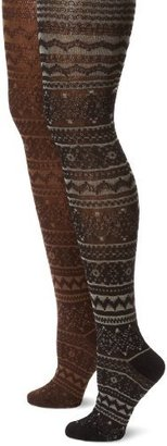 Muk Luks Women's Patterned Tights 2 Pair Pack-Trish