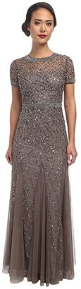 Adrianna Papell Cap Sleeve Fully Beaded Gown (Lead) Women's Dress