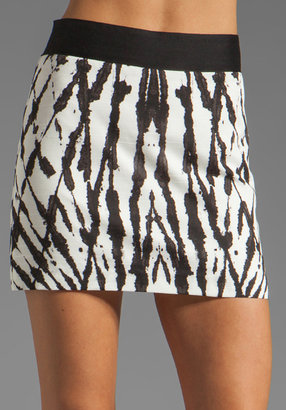 Milly Fossil Print on Cotton Ribbon Mini Skirt in Black/White