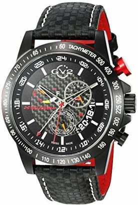 GV2 by Gevril Scuderia Mens Chronograph Swiss Quartz Alarm GMT Leather Strap Sports Racing Watch