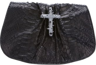 Maison Du Posh python leather cross clutch