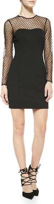 Ali Ro Long-Sleeve Swiss Dot Body Conscious Dress
