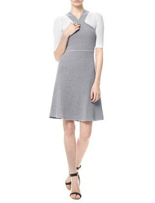 Yigal Azrouel Grey Cotton Waffle Knit Dress