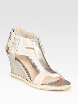 Fendi Carioca Pearlized Patent Leather Wedge Sandals