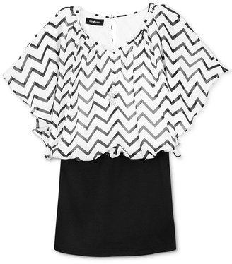 Amy Byer Girls' Plus Chevron Flutter-Sleeve Dress