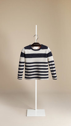 Burberry Striped Wool Linen Sweater