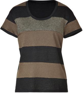 Sandro Gold/Olive/Black Striped Linen Top