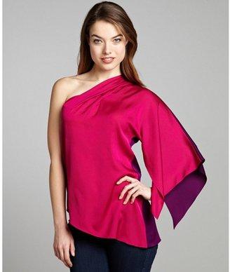 Elie Tahari english rose color block stretch silk 'Sandrine' one shoulder blouse