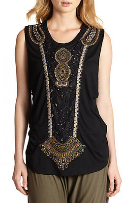 Haute Hippie Morning After Appliqué Sleeveless Tee