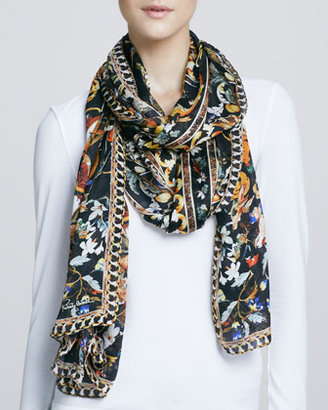 Roberto Cavalli Fontainebleau Printed Silky Scarf