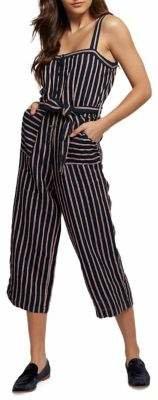 Dex Striped Linen-Blend Jumpsuit