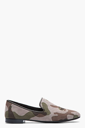 Giuseppe Zanotti Taupe and green camo Kevin 10 loafers