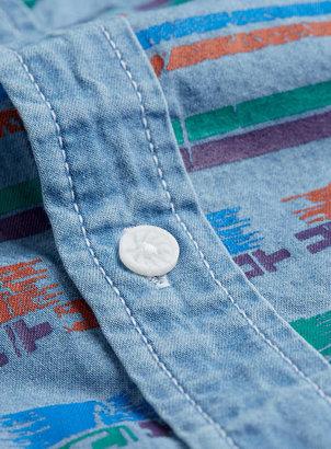 Topman Blue Coloured Aztec Print Short Sleeve Denim Shirt