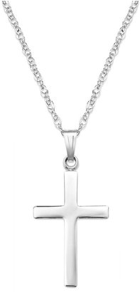 Sterling Silver Necklace, Polished Cross Pendant