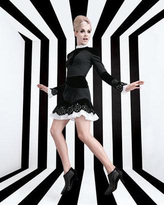 Alexander McQueen Pleated-Trim Cutout Dress