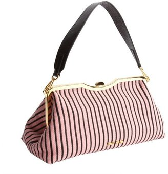 Miu Miu Pink And Black Stripe Jacquard Tote With Leather Strap