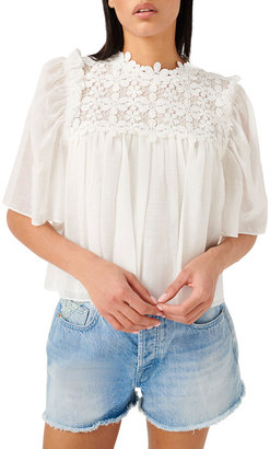 Floral Applique Yoked Short-Sleeve Blouse