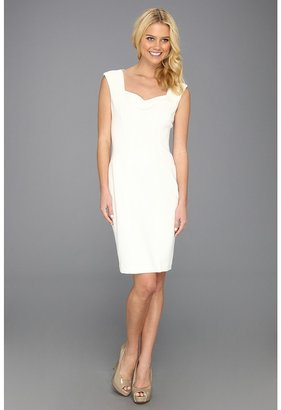 Maggy London Cocktail Scuba Sheath Dress (White) - Apparel