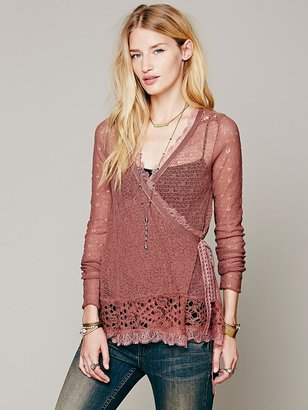 Free People Directions In Pointelle Wrap Sweater