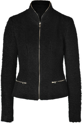 L'Agence LAgence Black Bouclé Zippered Short Jacket